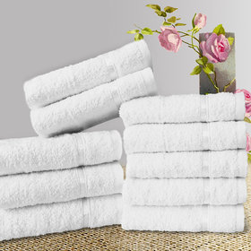 Story@Home White 10 Piece 450 GSM 100% Cotton Face Towel Set (30X30 cms)