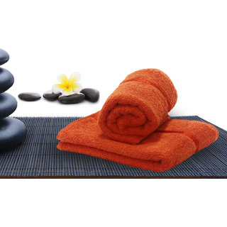 Story@Home Orange 2 Piece 450 GSM 100% Cotton Hand Towel Set (40X60 cms)