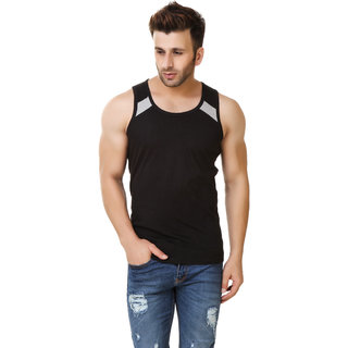 Fabstone Collection Black Round Neck Half Sleeve Tshirt For Men