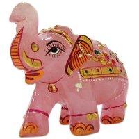 Gomati Ethnic Handicrafts Traditional Rose Quartz Stone Painted Elephant 4 Inch