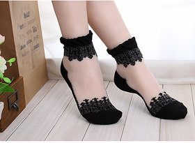 2 Pair Women Transparent Crystal Silk Socks For Woman
