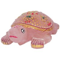 Gomati Ethnic Handicrafts Unique Rose Quartz Stone Painted Tortoise 4 Inch