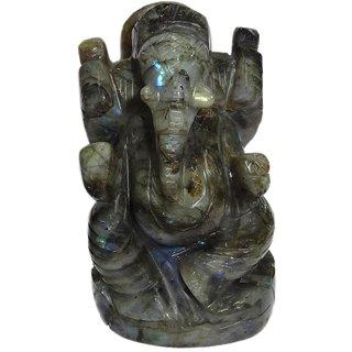 Gomati Ethnic Handmade Showpieces Figurine Labradorite Stone Religious Idol Ganesha 5 Cm