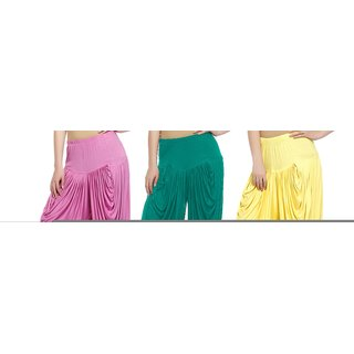 Sek Solid Lycra Women's Harem Pants-Pack of-3