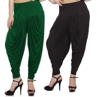 Sek Solid Lycra Women's Harem Pants-Pack of-2