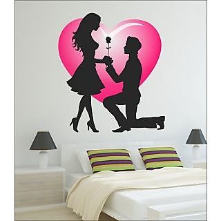 EJA Vinyl Art Valentine my love Covering Area 60 x 65 Cms Multi Color Sticker No of Pieces 1