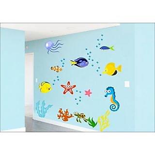 EJA Art Fish Aquarium Covering Area 180 x 120 Cms Multi Color Sticker