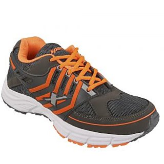 Sparx Men's Grey and Orange Lace Up Sport Shoes