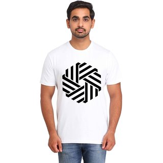 Snoby Striped hexagon print t-shirt