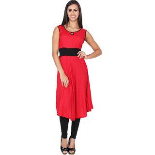 Lingra Red Rayon Kurti