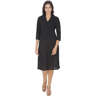 Lingra Black Cotton Kurti