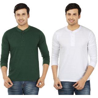 Weardo Men's Multicolor Henley T-Shirt (Pack of 2)