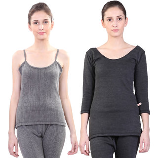 Vimal Winter Premium Thermal Black Upper Camisole And Top For Women(Pack Of 2)