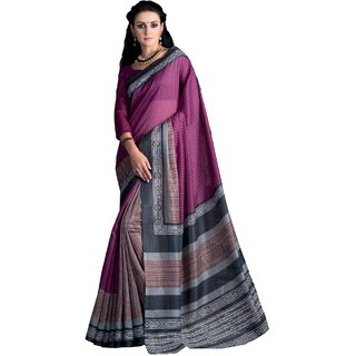 Sudarshan Silks Purple Dupion Silk Floral Saree With Blouse
