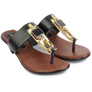 Do Bhai Women's Black Round Toe Heels - 101411220