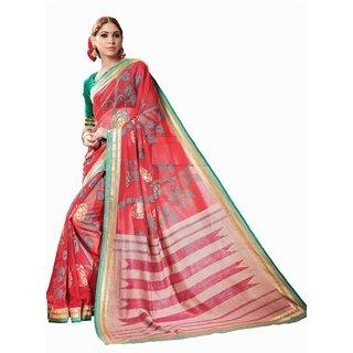 Sudarshan Silks Red Bhagalpuri Silk Self Design Saree With Blouse