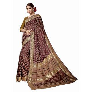 Sudarshan Silks Brown Bhagalpuri Silk Self Design Saree With Blouse