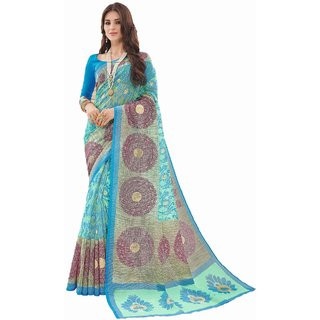 Sudarshan Silks Blue Bhagalpuri Silk Self Design Saree With Blouse