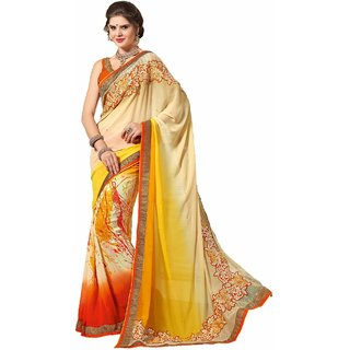 Sudarshan Silks Multicolor Chiffon Embroidered Saree With Blouse