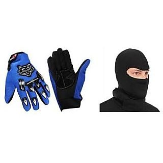 love4ride Combo Blue Knighthood Gloves Balacalva Facemask