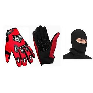 Combo Red KnightHood Gloves+ Balacalva Facemask