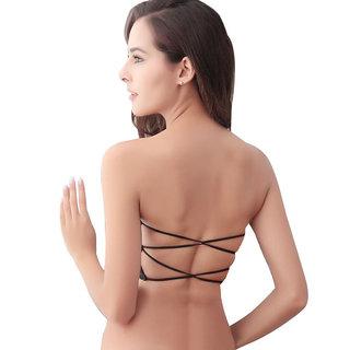453ec364a13bc Buy PrettyCat Strapless Back-Strings Fashion Strapless Black Bra ...