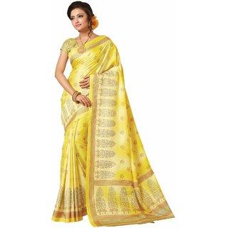 Sudarshan Silks Yellow Cotton Plain Saree With Blouse