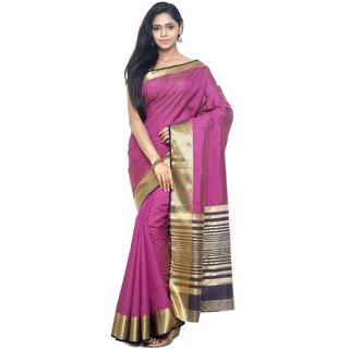 Sudarshan Silks Purple Raw Silk Printed Saree With Blouse
