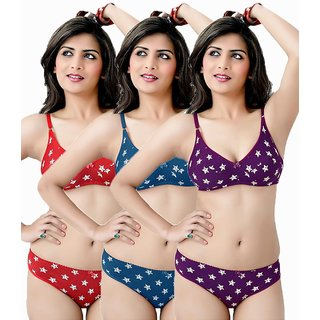 Pack Of 3 Cotton Multicolor Bra-Penty.