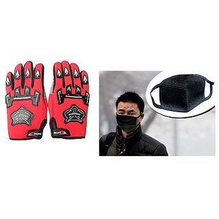 love4ride Combo Red Knighthood Gloves Anti Pollution Face Mask