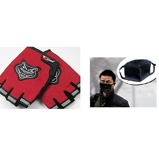 Red Knighthood Half Gloves+Anti pollution face mask