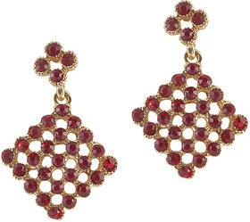 The99Jewel by JewelMaze Red Austrian Stone Gold Plated Dangle Earrings-FAG0116