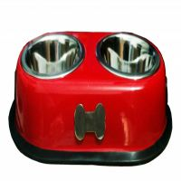 Petshop7 High Quality Stainless Steel Dog Double Dinner Set - Bone Design - Red-450Mlx2 -Small