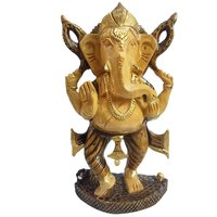 Gomati Ethnic Handicrafts Unique Handmade Wooden Yellow Hand Carved Dancing Ganesha Painted For Home Decorative 6 Inch Wd105_6