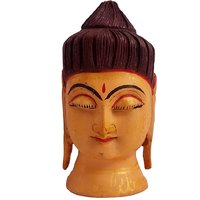 Gomati Ethnic Handicrafts Beautiful Handmade Wooden Multi Hand Carved Buddha Head Bal Painted For Home Decorative 3 Inch Wd110_3