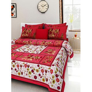 Dikshitafab Multicolour Cotton Printed 1 Double Badsheet With 2 Pillow Cover  DF143