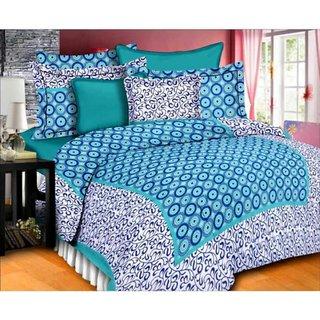 Dikshitafab Multicolour Cotton Printed 1 Double Badsheet With 2 Pillow Cover  DF159