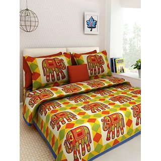 Dikshitafab Multicolour Cotton Printed 1 Double Badsheet With 2 Pillow Cover  DF167