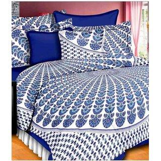 Dikshitafab Multicolour Cotton Printed 1 Double Badsheet With 2 Pillow Cover  DF168