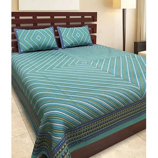 Dikshitafab Multicolour Cotton Printed 1 Double Badsheet With 2 Pillow Cover  DF169