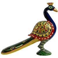 Gomati Ethnic Handicrafts Decorative Handmade Wooden Multi Hand Carved Peacock Painted For Home Decorative 4 Inch Wd116_4