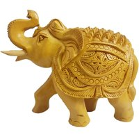 Gomati Ethnic Handicrafts Traditional Handmade Wooden Yellow Hand Carved Up Dunk Elephant For Home Decorative 2.5 Inch Wd125_0.5