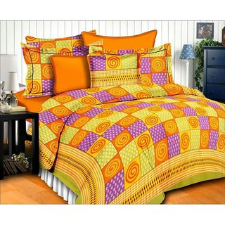 Dikshitafab Multicolour Cotton Printed 1 Double Badsheet With 2 Pillow Cover  DF184