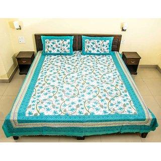 Dikshitafab Multicolour Cotton Printed 1 Double Badsheet With 2 Pillow Cover  DF187