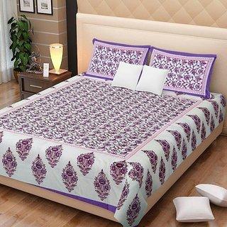Dikshitafab Multicolour Cotton Printed 1 Double Badsheet With 2 Pillow Cover  DF239