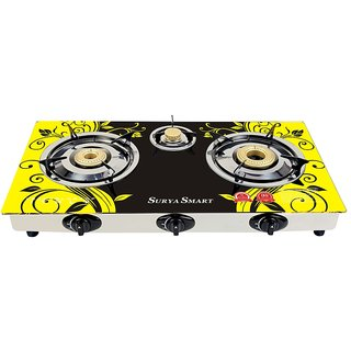 SURYA SMART AUTOMATIC 3 BURNER GAS STOVE COOKTOP