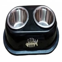 Petshop7 High Quality Stainless Steel Dog Double Dinner Set - Brass Fish - Black-450Mlx2 -Small