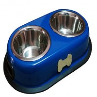 Petshop7 High Quality Stainless Steel Dog Double Dinner Set - Glossy Blue With Brass Bone-450Mlx2 -Small