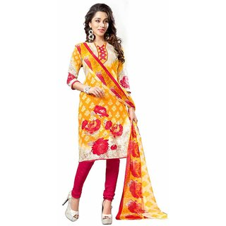 Swaron Fancy Multicolour Crepe Printed Casual Wear Dress Material 455D217