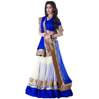 Women's Georgette Relaxed Lehenga Choli (BluewhiteFree Size)